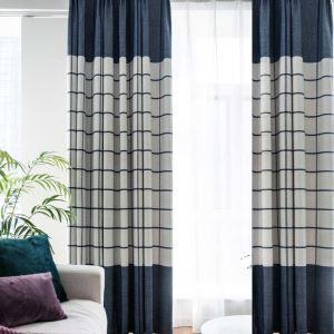 遮光カーテン オーダーカーテン 北欧風 青色 格子柄 シェニール ジャカード 1級遮熱カーテン(1枚) F16