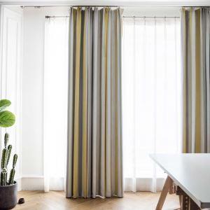 高遮光カーテン オーダーカーテン リビング 北欧風 縦縞柄 ジャカード(1枚)