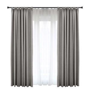 高遮光カーテン オーダーカーテン 現代 灰色 リンネル 無地(1枚)