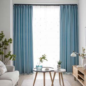 遮光カーテン オーダーカーテン リビング 寝室 空色 オシャレ 綿麻 1級遮光カーテン(1枚)