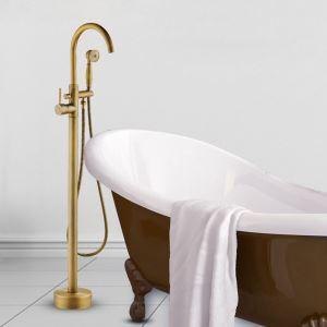 床置きシャワー水栓 床立ち上げ式浴槽蛇口 バス水栓 冷熱混合栓 ハンドシャワー付 水道蛇口 ブラス色