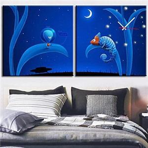 壁掛け時計 壁絵画時計 静音時計 キャンバス時計 壁飾り 2枚パネル 青空