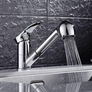 キッチン蛇口 引出し式水栓 台所水栓 冷熱混合水栓 水道蛇口 整流&シャワー吐水式