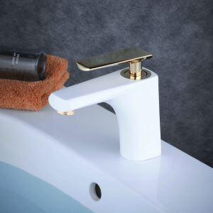 洗面水栓 バス蛇口 冷熱混合栓 立水栓 水道蛇口 手洗器水栓 白色&金色 BL9012N