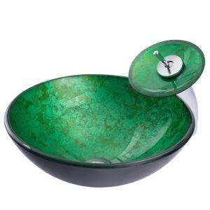 洗面ボウル&蛇口セット 手洗い鉢 洗面器 洗面ボール ガラス 排水金具付 オシャレ BW09033