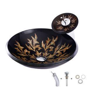 洗面ボウル&蛇口セット 手洗い鉢 洗面器 洗面ボール ガラス 排水金具付 花柄 D46cm BW09071