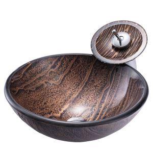洗面ボウル&蛇口セット 手洗い鉢 洗面器 洗面ボール ガラス 排水金具付 岩石柄 BW14068