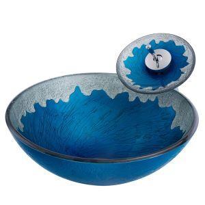洗面ボウル&蛇口セット 手洗い鉢 洗面器 洗面ボール ガラス 排水金具付 波柄 BW10017