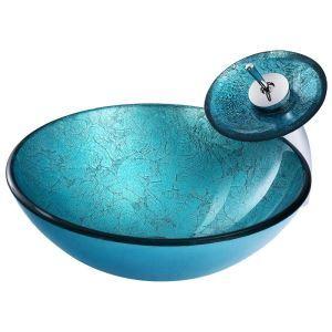 洗面ボウル&蛇口セット 手洗い鉢 洗面器 洗面ボール ガラス 排水金具付 オシャレ BW10168