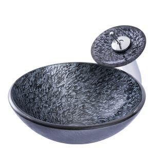洗面ボウル&蛇口セット 手洗い鉢 洗面器 手洗器 洗面ボール 洗面鉢 ガラス 排水金具付 岩石柄 BWY17139