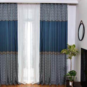 遮光カーテン オーダーカーテン リビング レトロ 格子柄 捺染 3級遮熱カーテン(1枚)
