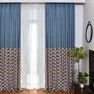 遮光カーテン オーダーカーテン リビング 北欧風 格子柄 捺染 3級遮熱カーテン(1枚)