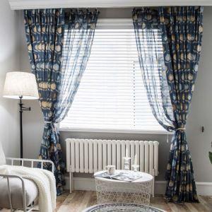 遮光カーテン オーダーカーテン リビング 北欧風 抽象 花柄 捺染 3級遮熱カーテン(1枚)