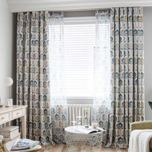 遮光カーテン オーダーカーテン リビング エコ 北欧風 花柄 捺染 3級遮熱カーテン(1枚)
