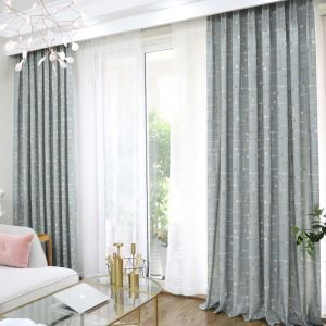 遮光カーテン オーダーカーテン リビング オシャレ 碁盤柄 捺染 3級遮熱カーテン(1枚)