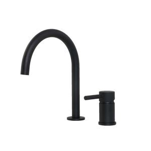 洗面蛇口 バス水栓 冷熱混合栓 水道蛇口 水栓金具 シングルレバー 7字型 黒色