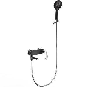 浴室シャワー水栓 バス水栓 ハンドシャー 混合水栓 蛇口付 浴槽蛇口 クロム&黒色