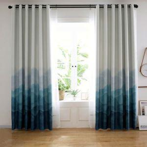 遮光カーテン オーダーカーテン リビング 寝室 オシャレ 青色霧 捺染 1級遮熱カーテン(1枚)