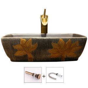 洗面ボール 手洗い鉢 洗面器 手洗器 洗面ボウル 陶器 角型 排水栓&排水トラップ付 蓮花柄 42cm/47cm 和風