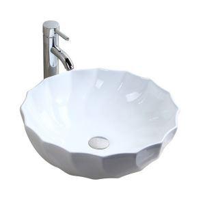洗面ボール 手洗い鉢 手洗器 洗面ボウル 洗面器 陶器 丸型 白色 排水栓&排水トラップ付 46cm オシャレ