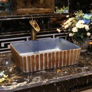 洗面ボール 手洗い鉢 洗面器 手洗器 洗面ボウル 陶器 角型 排水栓&排水トラップ付 48cm  和風北欧風