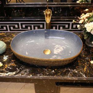 洗面ボール 手洗い鉢 洗面器 手洗器 洗面ボウル 陶器 楕円形 排水栓&排水トラップ付 60cm  和風北欧風