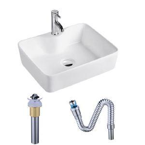 洗面ボール 手洗い鉢 手洗器 洗面ボウル 角型洗面器 陶器 白色 排水栓&排水トラップ付 48cm SK8072A
