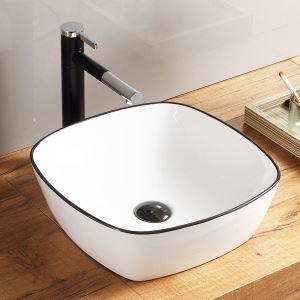 洗面ボール 手洗い鉢 手洗器 洗面ボウル 洗面器 陶器 角型 白色 排水栓&排水トラップ付 42.5cm SK8216