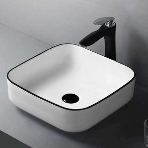洗面ボール 手洗い鉢 手洗器 洗面ボウル 洗面器 陶器 角型 白色 排水栓&排水トラップ付 38.5cm SK8220