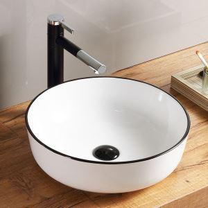洗面ボール 手洗い鉢 手洗器 洗面ボウル 洗面器 陶器 丸型 白色 排水栓&排水トラップ付 41.5cm SK8221