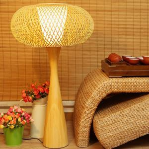 テーブルランプ スタンドライト 間接照明 卓上照明 デスクライト リビング 寝室 竹 手作り編み 和風 1灯 GYT0001