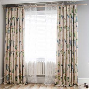 遮光カーテン オーダーカーテン 子供屋 オシャレ サボテン柄 捺染 3級遮熱カーテン(1枚)