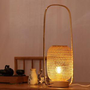 テーブルランプ スタンドライト 間接照明 卓上照明 デスクライト リビング 寝室 竹 手作り編み 和風 提灯型 1灯 T0070A