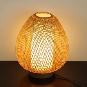 テーブルランプ スタンドライト 間接照明 卓上照明 デスクライト リビング 寝室 竹 手作り編み 和風 1灯 GYT0037