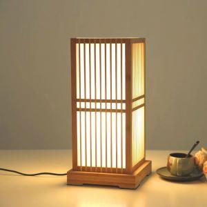 テーブルランプ スタンドライト 間接照明 卓上照明 デスクライト リビング 寝室 竹木 和風 方形 1灯 T0056