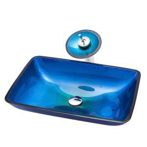 洗面ボウル&蛇口セット 手洗い鉢 洗面器 強化ガラス製 排水金具付 オシャレ 角型 VT4032