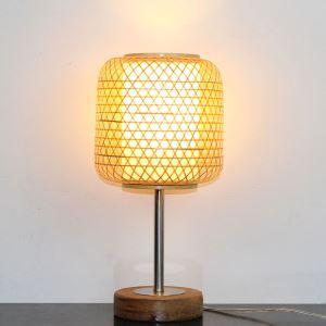 テーブルランプ スタンドライト 間接照明 卓上照明 デスクライト リビング 寝室 竹 手作り編み 和風 1灯 GYL0038