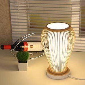 テーブルランプ スタンドライト 間接照明 卓上照明 デスクライト リビング 寝室 竹 手作り編み 和風 1灯 GYT0041