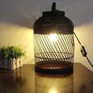 テーブルランプ スタンドライト 間接照明 卓上照明 デスクライト リビング 寝室 竹 手作り編み 和風 1灯 GYT0045