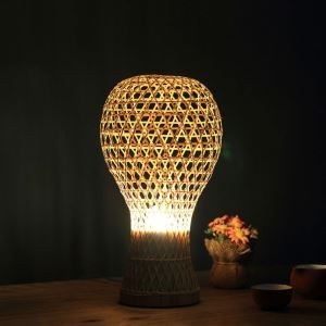 テーブルランプ スタンドライト 間接照明 卓上照明 デスクライト リビング 寝室 竹 手作り編み 和風 1灯 T00091
