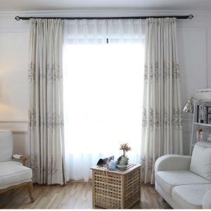 遮光カーテン オーダーカーテン オシャレ 2色スプライス 刺繍 綿麻 3級遮熱カーテン(1枚)