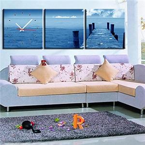 壁掛け時計 壁絵画時計 静音時計 壁飾り オシャレ 3枚パネル 海