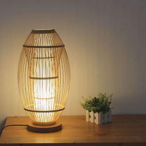 テーブルランプ スタンドライト 間接照明 卓上照明 デスクライト リビング 寝室 竹 手作り編み 和風 1灯 T0013