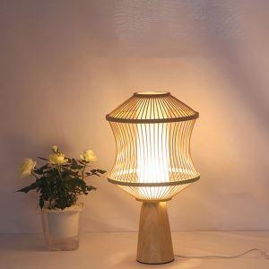 テーブルランプ スタンドライト 間接照明 卓上照明 デスクライト リビング 寝室 竹 手作り編み 和風 1灯 T0099