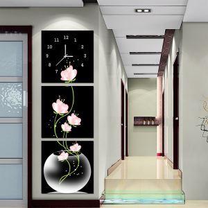 壁掛け時計 壁絵画時計 静音時計 キャンバス時計 壁飾り オシャレ 3枚パネル 蓮の花 A/B