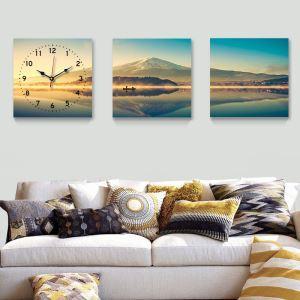 壁掛け時計 絵画時計 静音時計 壁飾り オシャレ 富士山 3枚パネル