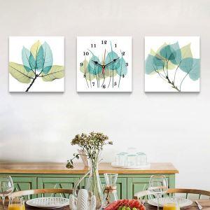 壁掛け時計 絵画時計 静音時計 壁飾り オシャレ 緑葉 3枚パネル