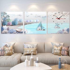 壁掛け時計 壁絵画時計 静音時計 キャンバス時計 壁飾り オシャレ 3枚パネル