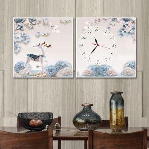 壁掛け時計 壁絵画時計 静音時計 キャンバス時計 壁飾り オシャレ 2枚パネル 鹿