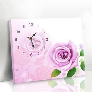 壁掛け時計 壁絵画時計 静音時計 キャンバス時計 壁飾り オシャレ ローズ柄 1枚パネル